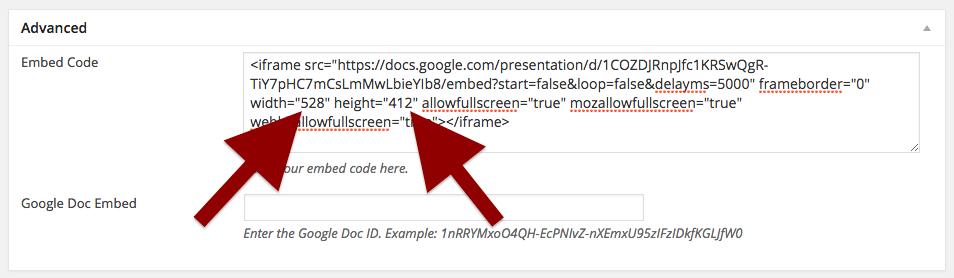 Google Presentation embed